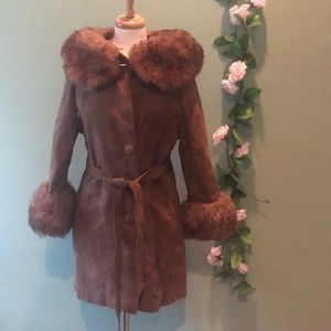 Suede Leather Coat with Fur